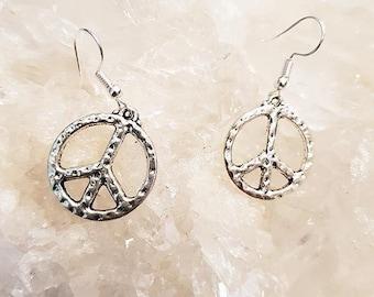 Peace symbol Silver Brass earrings