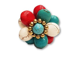 Natural Stone Ring Adjustable brass