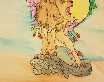 Leon in watercolor, digital