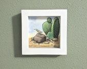 Cactus and Bird Desert Flora Fauna Original Watercolor Illustration, Framed