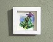 Mountain Bluet (Centaurea Montana) Original Watercolor Illustration, Framed