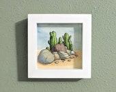 Succulents and Rocks Desert Flora Original Watercolor Illustration, Framed