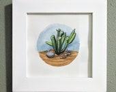 Succulent Desert Flora Original Watercolor Illustration, Framed