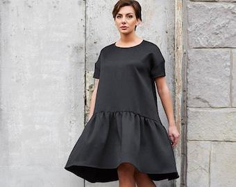 Summer Dress, Minimalist Dress, Black Dress, Oversized Dress, Gothic Dress, Women Dress, Knee Length Dress, Victorian Clothing, Loose Dress