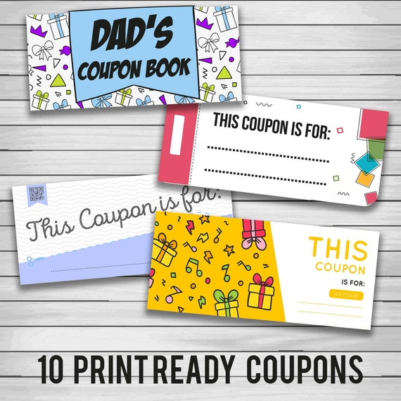 Funny Dad Coupon Book Cool Father S Day Gift Card Etsy