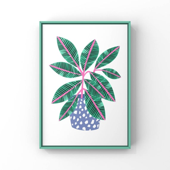 A5/A4/A3 Digital Plant Print 'Green and pink Plant in Terrazzo Pot'
