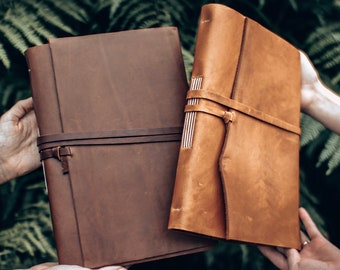 """A4 Handmade Leather Journal, Sketchbook - Free Personalised Initials. 12 x 8.5 """". Notebook, Scrapbook, Wedding, 3 Years Gift, Father's Day"""