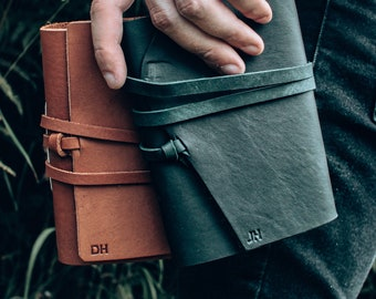 """A6 Brown Leather Journal - Free Personalised Initials. 6x4.5"""" Notebook, Birthday, Groomsmen Gift, Embossed, Pocket Size, Fathers Day"""