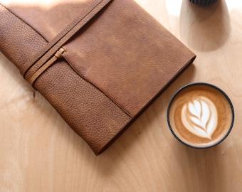 Buckaroo Tan Horween Leather Journals- Free Personalised Initials. Sketchbook, Notebook, Scrapbook, Wedding, Birthday, Christmas Gift, A4,A5