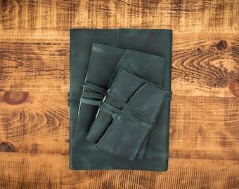 Leather Journals Dark Green- Free Personalised Initials. Sketchbook, Notebook, Scrapbook, Wedding, Birthday, 3rd Anniversary, Christmas Gift