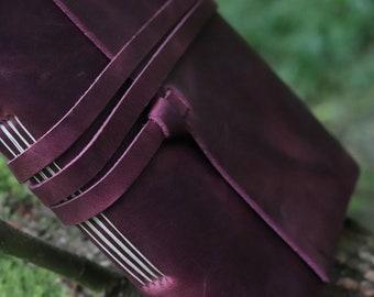 Leather Journal in Deep Rose, - Free Personalised Initials. A5 Sketchbook, Scrapbook, Notebook, Wedding, Anniversary, Travel Journal