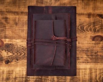Leather Journals Redwood- Free Personalised Initials. Sketchbook, Notebook, Scrapbook, Wedding, Birthday, Anniversary, Christmas Gift