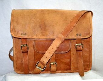 Men's Leather Bag Messenger Laptop Bag Shoulder Bag Handmade Leather Bag