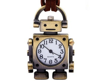 Robot Creative Pocket Watch Pendant Necklace for Women