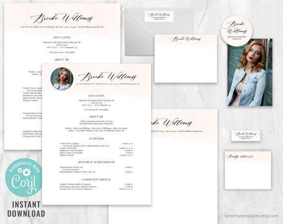 Editable Sorority Recruitment Packet Printable Sorority Packet Personal Resume Template Watercolor Rush Kit Brooke