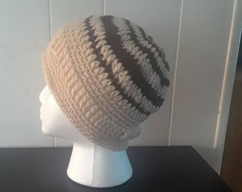 Brown and Pale Crochet Beanie