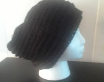 Thick Black Crochet Beanie with Rows