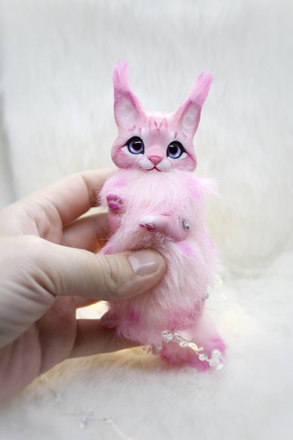 lynx fantasy animal creature fairy art toy OOAK doll plush soft