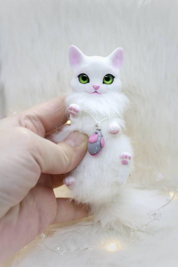 Cat kitty kitten toy miniature fantasy animal creature fairy art toy OOAK doll plush soft