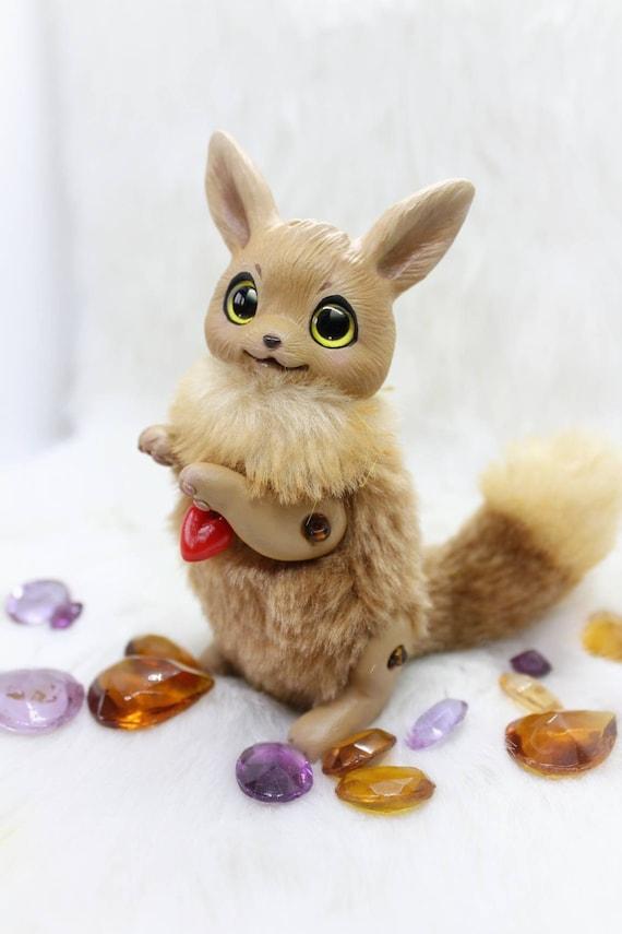 Eevee pokemon toy miniature fantasy animal creature fairy art toy OOAK doll plush soft