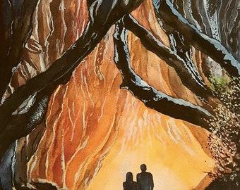 Original watercolour and gouache painting 20x20cm