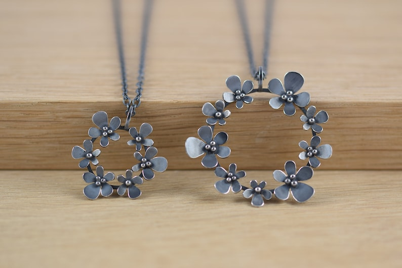 Silver and Oxidised Silver Necklace with Small Circular Flower Head Pendant Perfect Handmade Gift