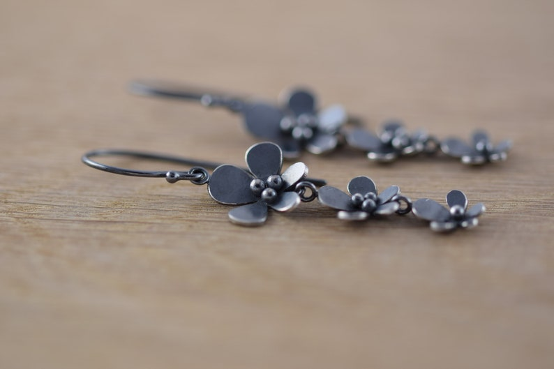 Silver and Oxidised Silver Three Flower Drop Earrings Perfect Handmade Gift