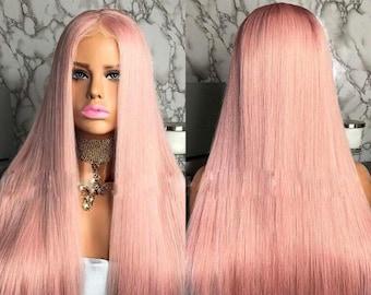 TYRA Virgin Human  Hair Pink Long Straight Full Lace Wig