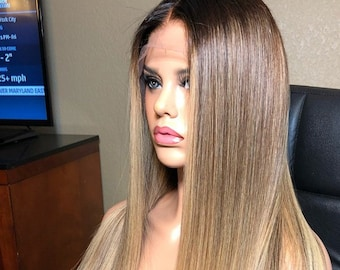 Lace Front Wig Human Hair Wigs 130% Density Full lace Wig Straight Wig Brazilian  Wig Human Hair Wig Lace Front Wig Ombre Wig Long Brown Wig ab05584bc