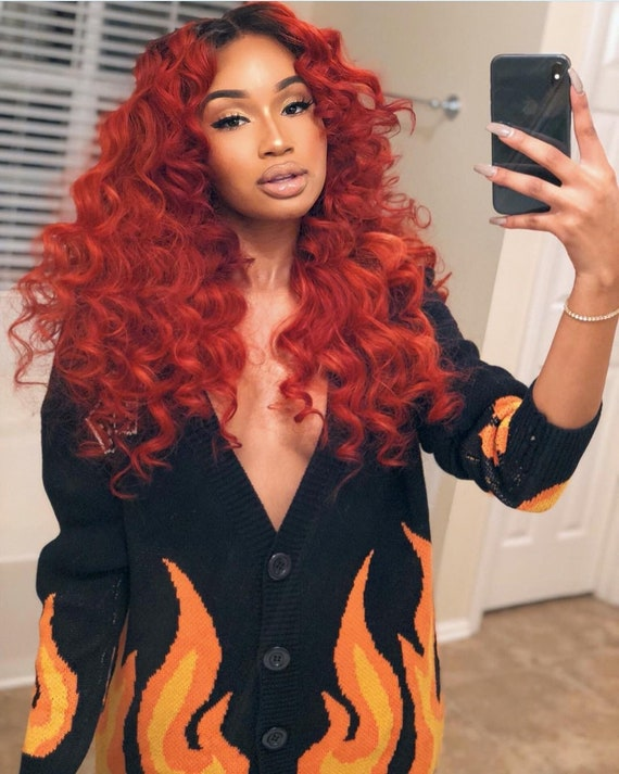 130% Density Red Wig Full lace Wig Curly Wig Womens  80f181a33