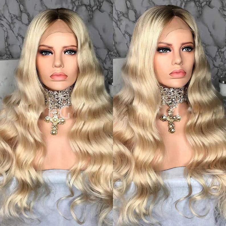 Blonde Perückenmensch Haar Perückelange Locken Blonde Etsy