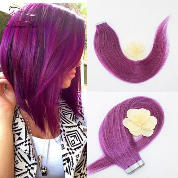 Tape In Human Hair Extension Purple Hairombre Tape In Etsy