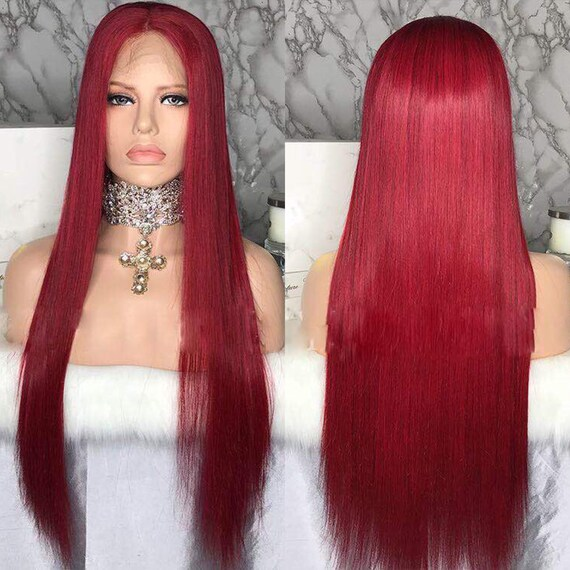 Red Wig/Straight Wig/Human Hair Wig/Lace
