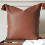 """BOHO COLLECTION - all Cognac faux leather. Pillow cover square 18 """"X 18"""", padding polyester or down, handmade"""