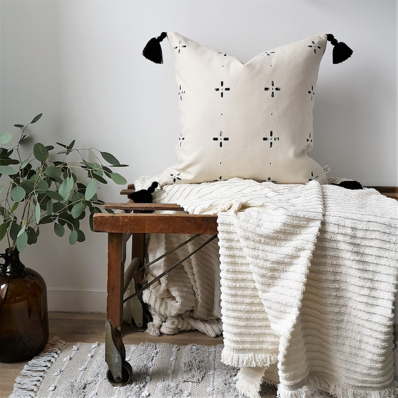 MITSOU X ETSY Cushion Cover  With Motifs and Black Glands image 0