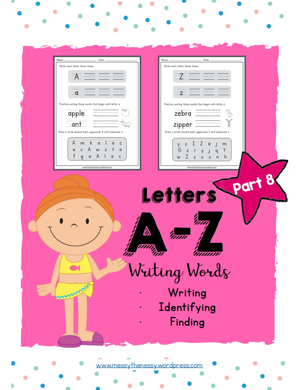 Alphabet Activities: Letters A-Z Writing words Part 8 | Etsy