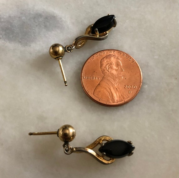 1940s Art Deco Style Onyx Earrings Rare Marquise Post Dangles Gold Tone Vintage 40s Costume Jewelry 1940s Style Black Stone Lover Jewelry