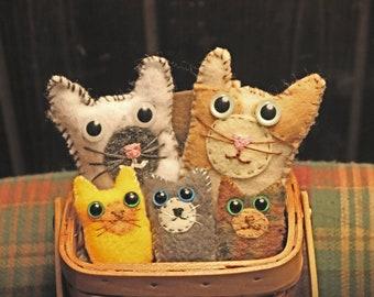 Cat family in basket