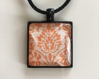 Boho Pendant- Damask- OOAK- Orange- Necklace- Shabby Chic- Summer Jewelry