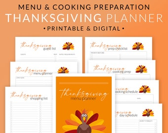 Thanksgiving Menu Planner Printable Kit – Holiday Meal Planning Template – Dinner Party Event Plan – Guest List Cooking Schedule Digital PDF
