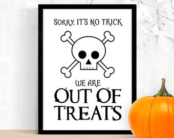 Out of Candy Sign Printable – Halloween No Trick or Treat Print – No Treats / No Sweets Porch Door Notice – Instant Digital Download PDF