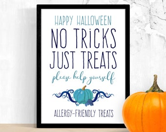 Trick or Treat Allergy Friendly Sign Printable – Teal Pumpkin Halloween Candy – Please Take One Help Yourself – Non Food Social Distance PDF