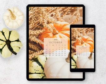 Cell Phone Wallpaper for Halloween – October Calendar Lock Screen Background for Tablet & Smartphone – Digital Planner Cover Sticker PNG