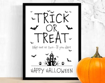 Trick or Treat Sign Printable – Halloween Candy Please Take One – Social Distance Help Yourself – Porch Door Candy Station – Digital PDF