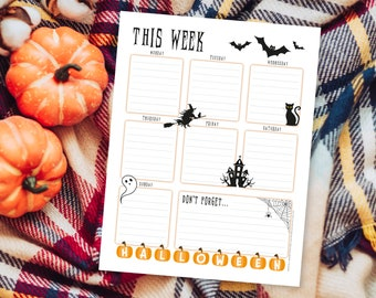 Weekly Planner Printable To Do List for Halloween – Print at Home Diary Calendar Page – One Week Organiser – A4 and US Letter Portrait