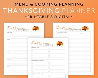 Thanksgiving Meal Cooking Planner Printable Set – Holiday Meal Planning Template – Cooking Schedule & Preparation Plan –  Digital PDF