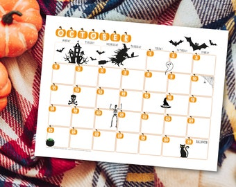 October Calendar Printable for Halloween 2021 – One Month at a Glance Planner – Monthly Overview Digital PDF – Print at Home Organizer