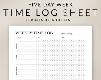 Weekly Time Tracker Printable – 5 Day Week – Project Time Sheet – Hourly Time Blocking – Employee Billable Work Hours – Digital Download PDF