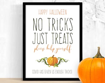 Trick or Treat Sign Printable – Funny Covid Halloween Candy Print – Please Take One Help Yourself – Social Distance Porch Sign – Digital PDF
