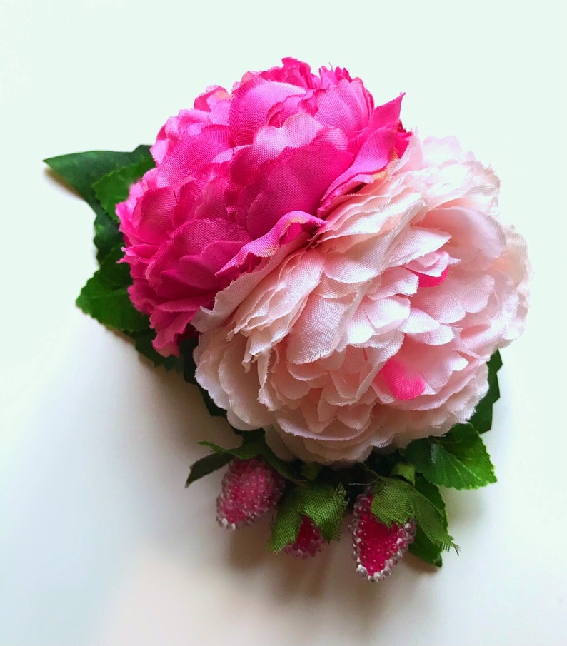 Woodland Wonder Statement Hair Clip Berry Pink light Pink contrasting Peony flower piece with Pink Berries Forest  flowers wedding Party